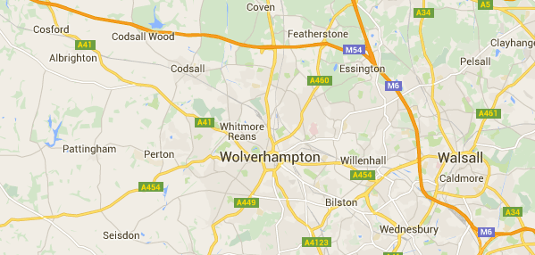 Image of a map of Wolverhampton.