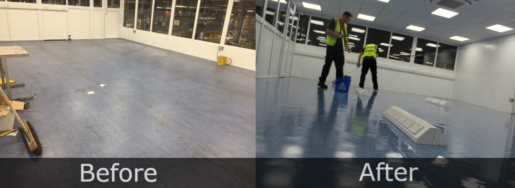 Image of a before and after of commercial office cleaning.