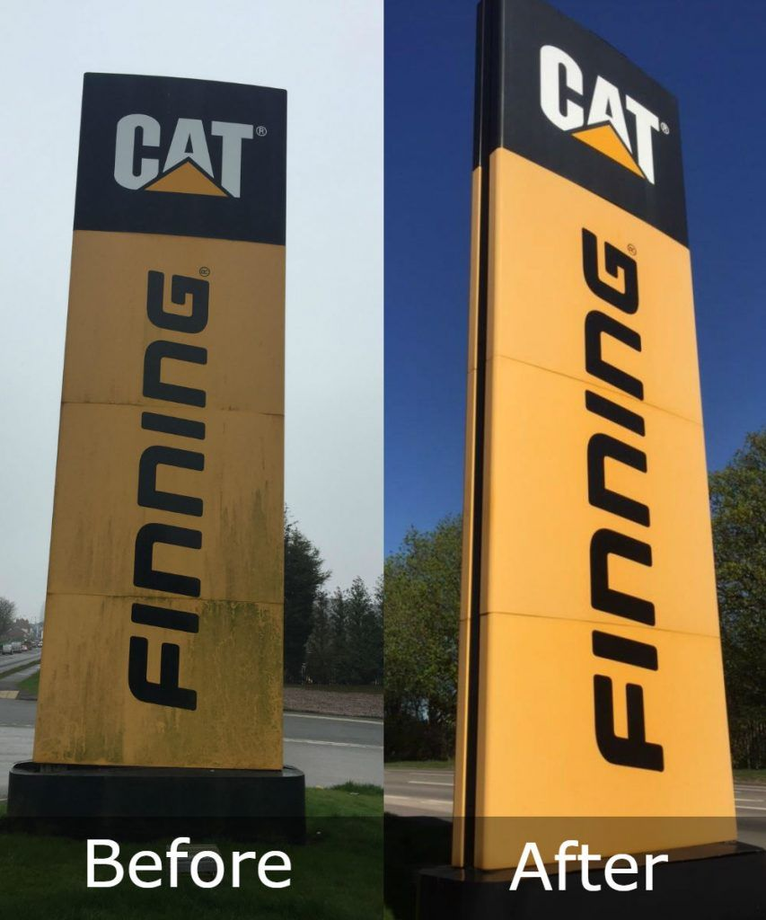 Image of a before and after of sign cleaning.