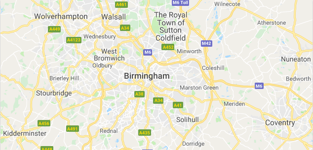 Image of a map of Birmingham.