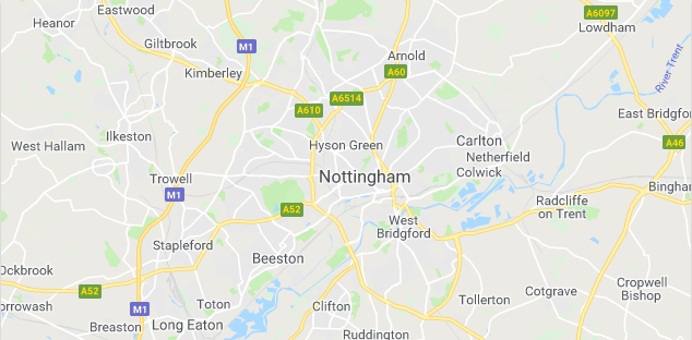 Image of a map of Nottingham.