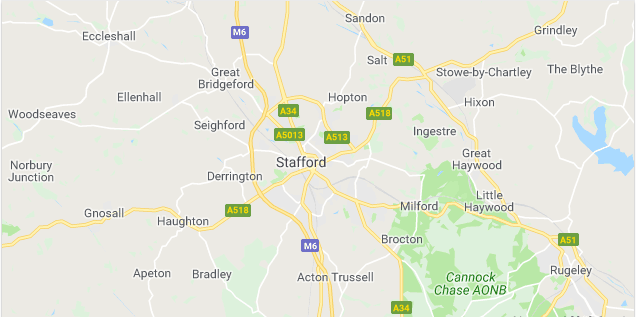 Image of a map of Stafford.