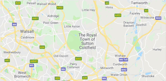 Image of a map of Sutton Coldfield.