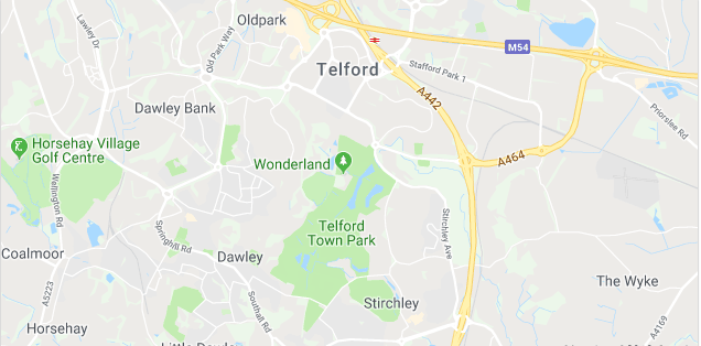 Image of a map of Telford.