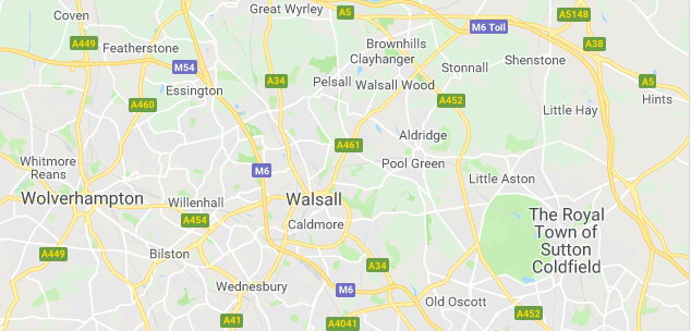 Image of a map of Walsall.