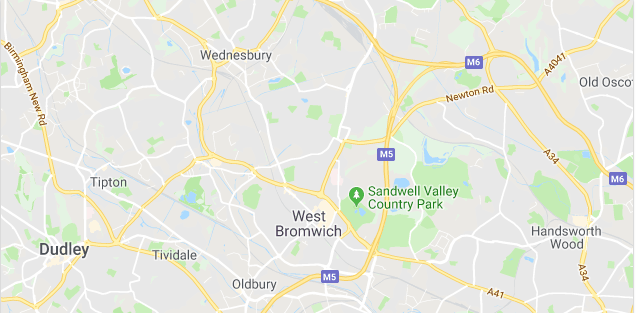 Image of a map of West Bromwich.